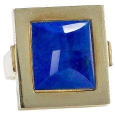 14 Karat Yellow Gold & Lapis Lazuli Square Frame Dress Ring