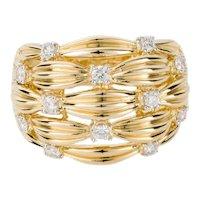 18 Karat Yellow Gold Diamond Set Basket Weave Dress Ring