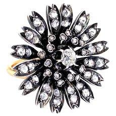 18 Karat Rose Gold, Silver & Old Cut Diamond Antique Dahlia Cocktail Ring