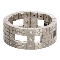 H Stern Metropolis Collection 18k White Gold & Diamond Ring - Ring size 6.75