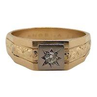 18 Karat Engraved Men's Diamond Ring