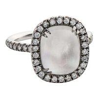 4.80 Carat Rainbow Moonstone & Diamond 18 Karat White Gold Ring