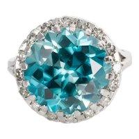 18 Karat White Gold, Blue Zircon & Diamond Cocktail Ring