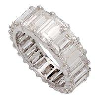 8.00 Carat Emerald Cut Diamond & Platinum Neverending Ring - Size 5.25