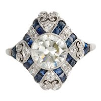 1.52 Carat Old European Cut Diamond & Sapphire Art Deco Style Ring
