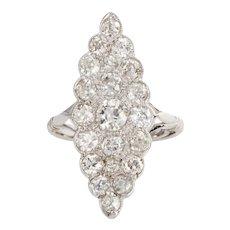 Art Deco Platinum & 2.15 Carat Old European Cut Diamond Navette Ring