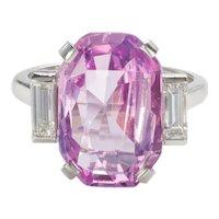8.27 carat Unheated Certified Pink Ceylon Sapphire & Baguette Cut Diamond Ring