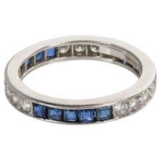 Tiffany & Co Platinum Diamond & Sapphire Eternity Band Ring - Size 5