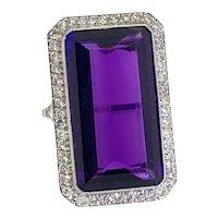 18.17 Carat Amethyst Diamond & Platinum Cocktail Ring