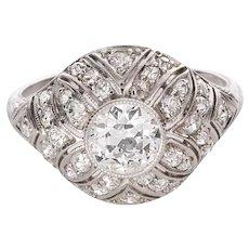 1.49 Carat Diamond Edwardian Filigree Platinum Ring