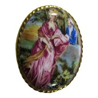 Aynsley Porcelain Brooch - Courting Couple