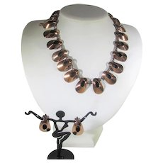 Mid-century Modern Renoir Copper Necklace and Earrings