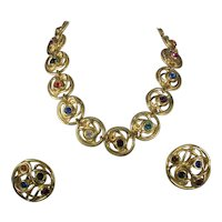 Edouard Rambaud 1980's Gold Tone and Bejeweled Necklace and Earrings