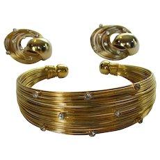 Elegant Vintage Goldtone Wire and Rhinestone Bracelet and Earrings Set