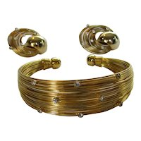 Mid Century Modern Gold Tone Wire Bracelet and Earrings