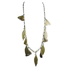 Les Bernard – Dramatic Gold Tone Necklace with Dangling Leaves