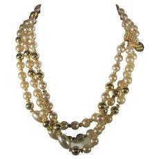 Monette de Paris Vintage Gold Tone and Champagne Three Strand Beaded Necklace