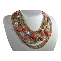 Mid Century Modern Gold Tone, Crystal, and Faux Coral and Pearl Bead Demi Parure