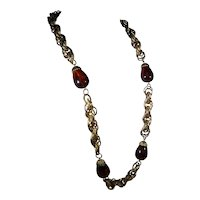 Coro Gold Tone Necklace with Amber Lucite Accent Beads