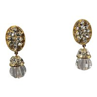 Rhinestone and Lucite 'Crystal' Drop Earrings by Tara
