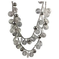 Fabulous Kate Spade Lucite/Crystal Silver Tone Necklace
