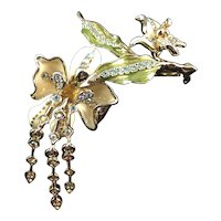 Elegant Gold Tone Flower and Butterfly Pin with Dangling Stamens - by St. John