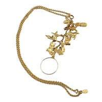 Joan Rivers Gold Tone Necklace with Charms and Magnifying Glass