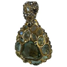 """Alexis Bittar """"Georgian"""" Gold Tone and Sea Green Crystal Necklace"""