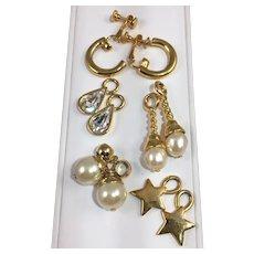 Joan Rivers Gold Tone Clip Earrings w Pearl, Rhinestone or Star Drops