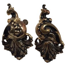 Victorian Reproduction - Antiqued Gold Tone Screw-back Earrings