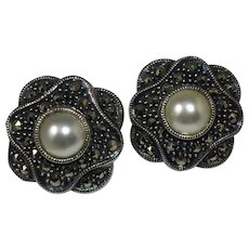 Elegant Sterling Silver, Marcasite, and Faux Pearl Clip Earrings