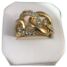Gold Tone and Rhinestone Ring from Kenneth Jay Lane