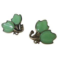 Crown Trifari Green Leaf Lucite and Gold Tone Clip Earrings