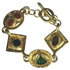 Gold Tone and Enamel Renaissance-Style Bracelet