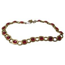 Monet Rich Gold Tone and Cranberry Gripoix Necklace