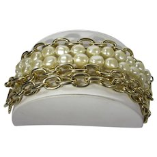 Carolee Gold Tone and Faux Pearl Bracelet