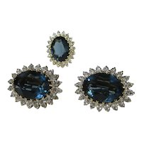 Stunning Faux Sapphire and Diamond Ring and Clip Earrings