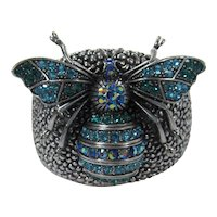 Silver Tone Cuff with Huge Bee in Turquoise Rhinestones