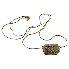 Gold Tone Necklace with Purse Pendant by 1928
