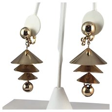 "Napier Mid-century ""Temple Bells"" Chandelier Clip On Earrings"