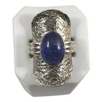 Textured Sterling and Amethyst Cabochon Statement Ring