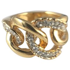 Kenneth Jay Lane Gold Tone and Rhinestone Ring