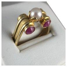 Italian 14K Pearl and Ruby Cabochon Ring - Retro Design