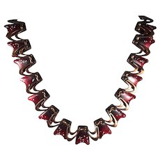 Mid Century Copper Necklace with Red/White/Black Enamel