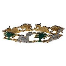 Gold Tone Camel and Palm Tree Bracelet in Rhinestone and Enamel