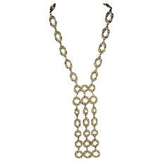 Ornate Gold Tone Waterfall Bib Necklace