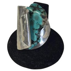 Huge Spoon Ring - Silver Plate and Simulated Turquoise