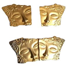Modernist Grecian Lady in Gold Tone Pin and Earring Set