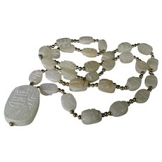 Egyptian Scarab Necklace in Carved Soapstone Beads