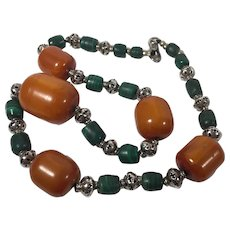 Tribal Necklace with Copal, Malachite and Sterling Beads